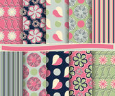 Set of abstract floral vector paper for scrapbook — Stock Vector