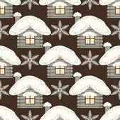 Seamless abstract Christmas background illustration with houses — Stockvektor