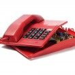 Red Telephone And Components — Stock Photo
