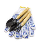 Gardening Tools And Cotton Gloves — Stock Photo