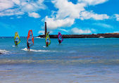 Windsurfers on the sea — Stock Photo