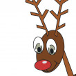 Reindeer with red nose look from side — Stock Photo