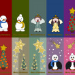 Stock Vector: Special christmas tags with angel, snowman, pinguin and christma