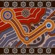 A illustration based on aboriginal style of dot painting depicti - Stock Vector