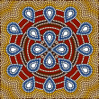 Stock Photo: Illustration based on aboriginal style of dot painting depicting flower