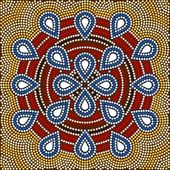 A illustration based on aboriginal style of dot painting depicting flower — Stock Photo