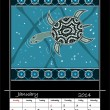 Stock Photo: Calender based on aboriginal style of dot painting depicting l