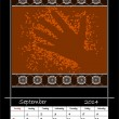 Stock Photo: Calender based on aboriginal style of dot painting depicting h