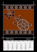 A calender based on aboriginal style of dot painting depicting t — Stock Photo