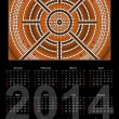 A calender based on aboriginal style of dot painting depicting y — Stock Vector