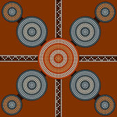 A illustration based on aboriginal style of dot painting depicti — Stockvector