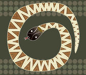 Beschreibung: A illustration based on aboriginal style of dot painting depicting Fierce Snake — Stock Photo