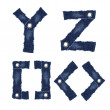 Y, Z and Symbol of alphabet letters from jeans fabric — Stock Photo #12754676
