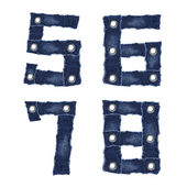 5, 6, 7, 8, - Number from jeans fabric — Stock Photo