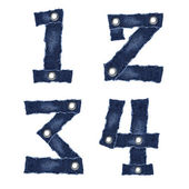 1, 2, 3, 4, - Numbers from jeans fabric — Stock Photo