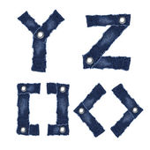 Y, Z and Symbol of alphabet letters from jeans fabric — Stock Photo