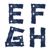 E, F, G, H, - Alphabet letters from jeans fabric — Stock Photo