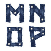M, N, O, P, - Alphabet letters from jeans fabric — Stock Photo