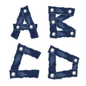 A, B, C, D, - Alphabet letters from jeans fabric — Stock Photo