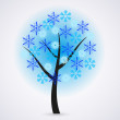 Creative snowflakes tree on gray background. Eps 10 — Stock Vector