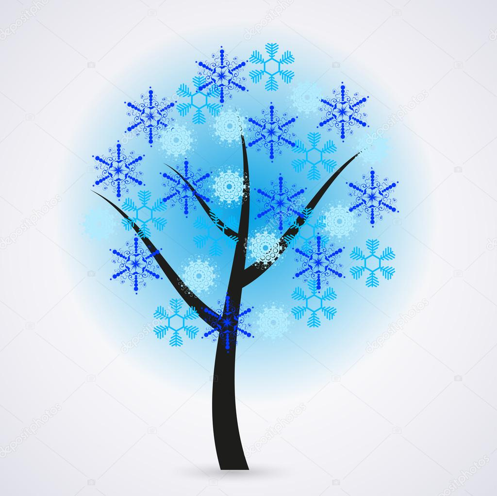 Creative snowflakes tree on gray background. Eps 10 — Stock Vector #12332655