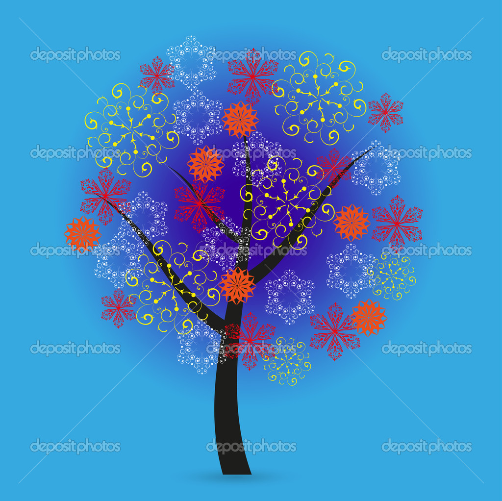 Creative snowflakes tree on blue background. Eps 10  Stock Vector #12332667