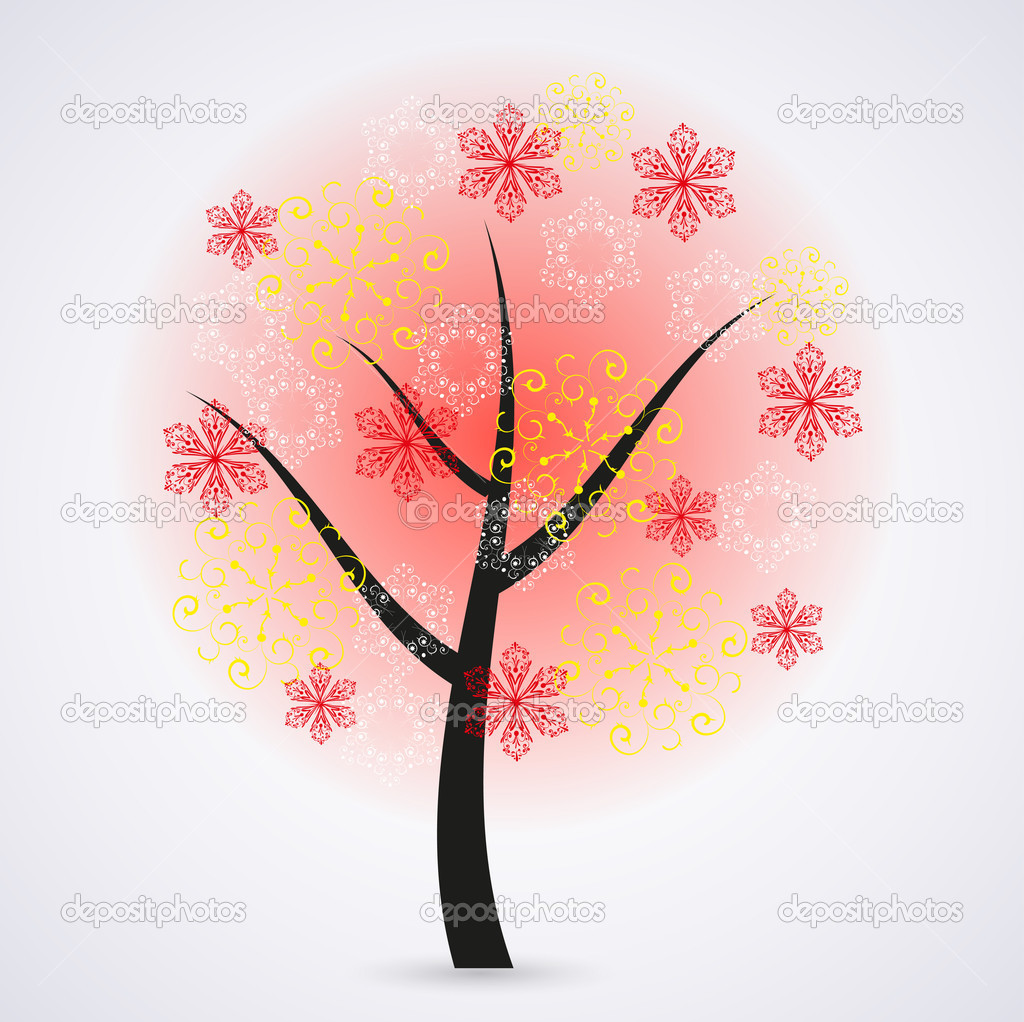 Creative snowflakes tree on gray background. Eps 10 illustration — Stock Vector #12332707