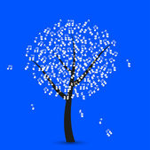 Vector music tree on blue background. Eps 10 — Stock Vector