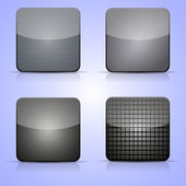 Vector metal app icon set on blue background. Eps 10 — Stock Vector