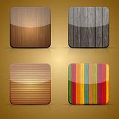 Vector houten app pictogram ingesteld op bruine achtergrond. eps 10 — Stockvector