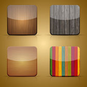 Vector wooden app icon set on brown background. Eps 10 — Stock Vector