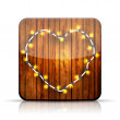 Vector app icon. A heart garland on wooden background. Eps10 - Stock Vector