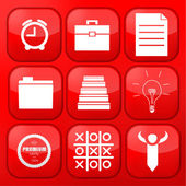 Vector red business app icon set. Eps10 — Stock Vector