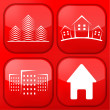 Vector red real estate app icon set. Eps10 — Stockvectorbeeld