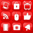 Vector red technology app icon set. Eps10 — Stock Vector