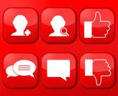 Vector red social Network app icon set. Eps10 — Stock Vector