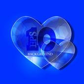 Vector glass heart on blue background. Eps10 — Stock Vector