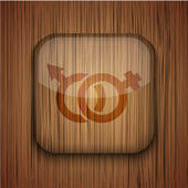 Vector wooden app icon on wooden background. Eps10 — Stock Vector