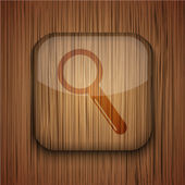 Icona di app in legno vettoriale su fondo in legno. Eps10 — Vettoriale Stock