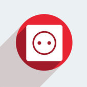 Red circle icon on gray background. — Stock Vector