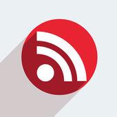 Rode cirkel pictogram op grijze achtergrond. — Stockvector