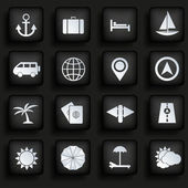 Travel icons set on black background. — Stock Vector
