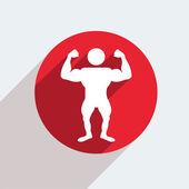Icône de cercle rouge de vecteur avec homme athlétique — Vecteur