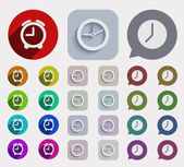 Vector modern flat time icons set — Stock Vector