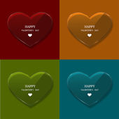 Vector glass heart set on sample background — Stockvector