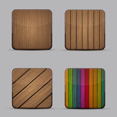 Vector modern wooden icons set on gray background — Stock Vector