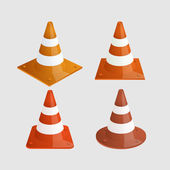 Vector modern traffic cones icons set — Stock Vector