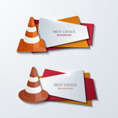 Vector modern traffic cones banners icons set — Stock Vector