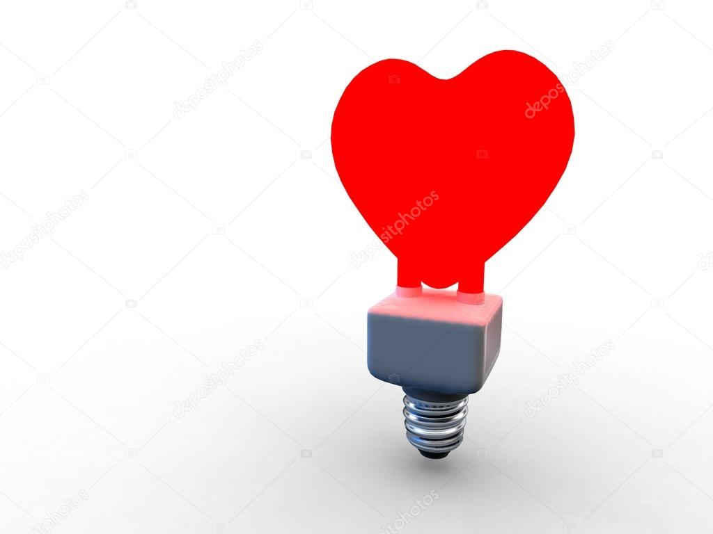Illustration of a red bulb in heart shape on white background — Stock Photo #19030563