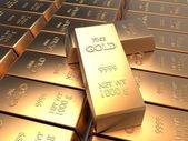 Univer of rows of gold bars — Stock Photo